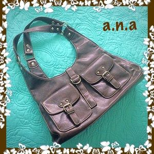 a.n.a Brown Large Satchel Faux Leather Snap Close